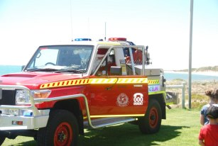 Lancelin Fire & Rescue dropping off santa for a visit with the children