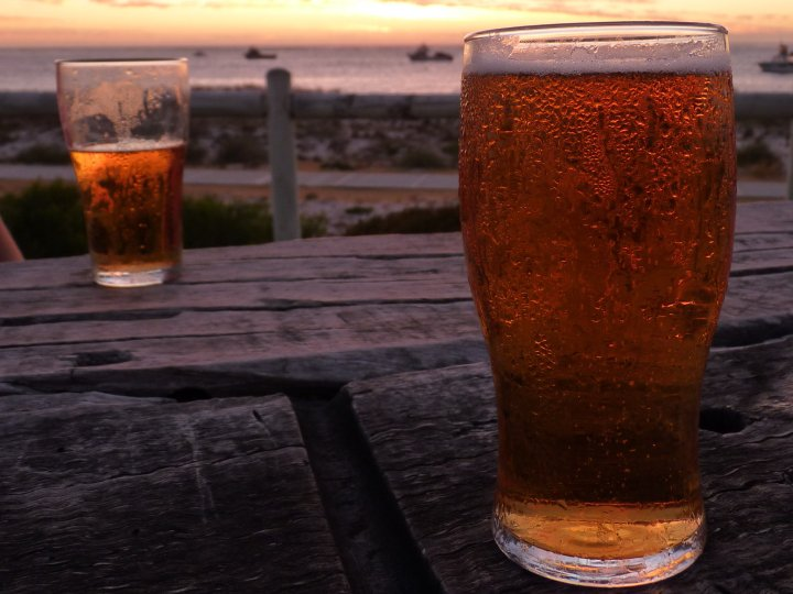 A pint at sunset!